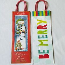 Christmas Wine Gift Bags Assorted Snowman Be Merry 5 x 14 x 4.5 Lot of 4