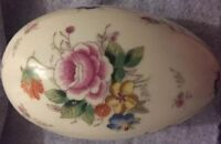 Handcrafted Porcelain Cloisonné Egg Shaped Box With Gold Trim EUC