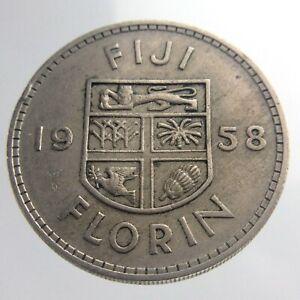 1958 Fiji One 1 Florin Circulated Coin KM# 24 Copper-Nickel V942
