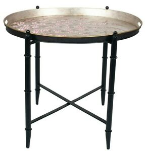 Hand Painted Cherry Blossom Oval Metal Table