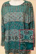 Forenza Knit Tunic Top Medium Long Sleeve Teal Print Scoop Neck Blouse Shirt NWT