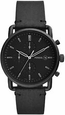 Fossil Men's Commuter FS5504 43mm Black Dial Leather Watch
