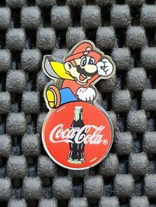 Vintage Nintendo Employee Super Mario World Land Coca Cola Promo Pin Badge Rare
