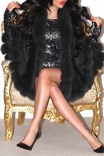 PLATINUM DARK GREY BLACK PURE 100% CASHMERE REAL FOX FUR TRIM CAPE WRAP PONCHO