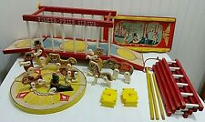 Vintage FISHER PRICE #900 Circus Train Wagon w/ Animals Lot Wood Plastic Wooden