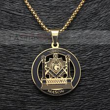 "Mens Gold Plated Stainless Steel Freemason Masonic Pendant Box Chain 3Mm 24"""