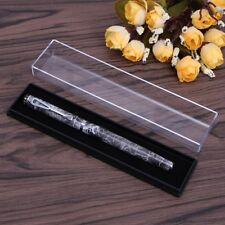 Transparent Pen Case Plastic Box Black Base Stationery Organizer Office Use