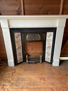Beautiful Antique Cast Iron Fire Surround Tiled Inserts (free Wooden Surround)