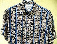 VTG 90S FLORAL HI LO BATIK LOOK RAYON GRUNGE blue SHIRT TOP SZ M L BLOUSE WOMEN
