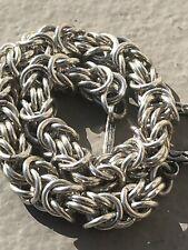 "Vintage Fine Sterling Silver Woven Link Mesh Chain Bracelet 7.5"" Italy 29grams"