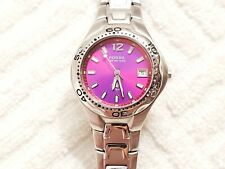 Fossil Purple Red Dial Watch Luminous Hands 100 Meters Stainless Steel One Jewel