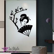 Vinyl Decal Japanese Geisha Woman Asian Sakura Cherry Fan Wall Art  Sticker 1422