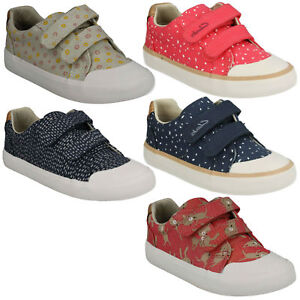 GIRLS CLARKS COMIC COOL HOOK & LOOP INFANT CANVAS CASUAL SUMMER SHOES KIDS SIZE