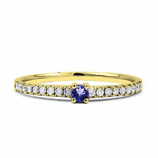 9Carat Yellow Gold Tanzanite Solitaire with Accents Fine Gemstone Rings