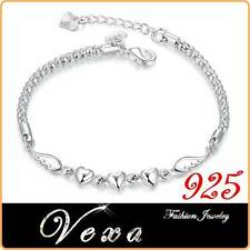 New 925 Sterling Silver Bracelet Heart Charm Bangle Ladies Womens Jewelry BS09