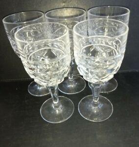 Set of 5 cut glass crystal   wine glasses  ; VGC