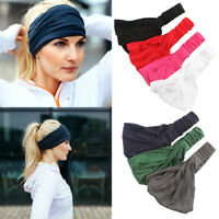 Womens Elastic Stretch Wide Hairband Yoga Gym Headband Turban Running Head Wrap