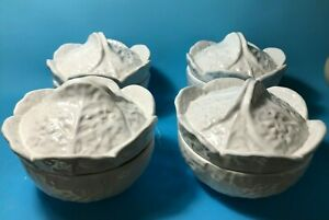 4 Majolica Art Pottery Portugal White Cabbage Leaf Covered Soup Bowls