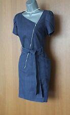 Karen Millen Denim Asymmetric Neckline Front Zip Short Sleeve Casual Dress 12/40