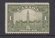 Canada Sc 159 MLH. 1929 $1 olive green Parliament, small thin