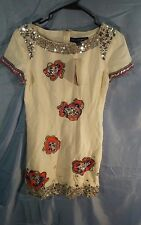 French Connection Lyndsey Flower Bead Sequin Dress Cream Soda sz 6 NWT MSRP $298