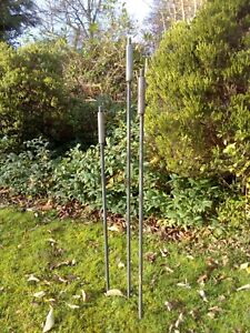 Metal Bulrush Stems Rusted Iron Plant Support Garden Sculpture Art Set of 3