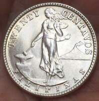 1944 D  Philippines 20 Centavos .75 Silver ***UNC*** GEM BU COIN