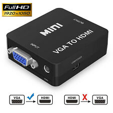1080P VGA to HDMI Audio Video Converter Box Adapter for HDTVs, Mac, Gold Plated