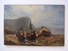 Très ancienne marine hst Voiliers sur la plage sous falaise Normandie Isabey ?