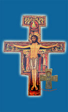 Orthodox Crucifix Cross Byzantine Paper Image on Wood Serbian Style San Damiano