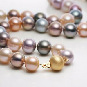 """Multi-color Strand,10-12MM Round Tahitian Pearl&Kasumi Pearl Necklace,14KY,20.5"""""""