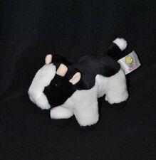 Peluche doudou vache LASCAR noir blanc cornes 16 cm de long TTBE