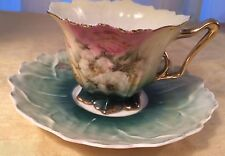 RS PRUSSIA Pedestal Footed Ribbon Handle Flowers/ Floral Cup & Saucer