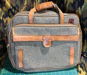 "Vintage Hartmann Tweed Messenger Shoulder Bag Leather Tweed 16""x12x7"" No Strap"