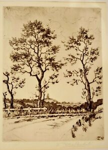 Frank Tolles Chamberlin Drypoint Etching Near Pasadena Pencil Sg California