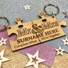 Personalised Wedding Day Gift 2x Jigsaw Puzzle Beech Keyrings Fifth Anniversary