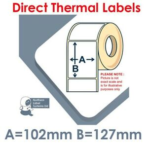 102mm x 127mm WHITE Direct Thermal Labels for Zebra Datamax Citizen type Printer