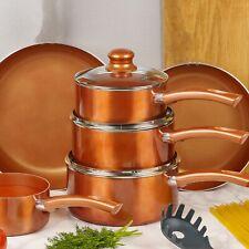 4 PCS URBN-CHEF Ceramic Copper Induction Cooking Pots Lid Saucepans Cookware Set
