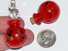 Large Murano Glass Crystal Ball essential oil perfume bottle cork pendant Red