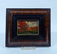 Jugendstil Gemälde um 1900 Landschaft Oel auf Holz in Flammleiste Wellenleiste