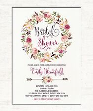 Floral Bridal Shower Invitation Boho Baby Invite Bohemian Flower Tea Hens Night
