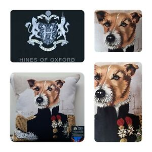 HINE OF OXFORD Russell Terrier Tapestry Throw PILLOW England Military Officer