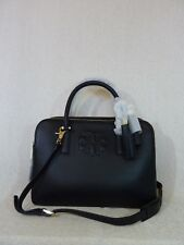ce1108b4a1 NWT Tory Burch Black Leather Large Thea Triple Zip Satchel $495 - With Strap