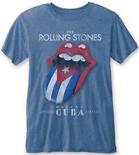 THE ROLLING STONES Havana Cuba 2016 Tongue BURNOUT T-SHIRT BLUE OFFICIAL MERCH