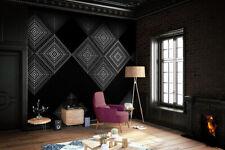 Vlies Foto Tapete grafische Rauten INK7351 schwarz 200x280cm