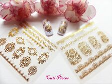 Nail Art 2 pack 'Gold Lace Swirls Flowers' Self Adhesive Wrap Sticker Decals YZ1