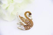 Charming Rhinestone Swan Style Brooch Pin Made With SWAROVSKI Elements