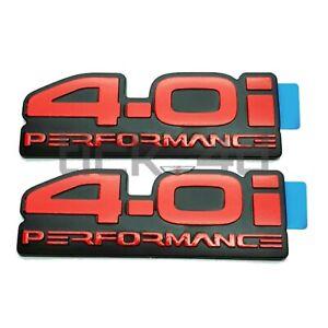 4.0i Performance Red Emblem Badges x2 - EB ED Ford Falcon Tickford XR6