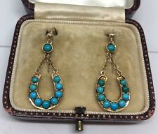 Victorian Antique Yellow Gold Ornate Large Earrings Turquoise Horseshoe Drop