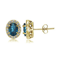 Yellow Gold Flashed 925 Silver London Blue & White Topaz Oval Halo Stud Earrings